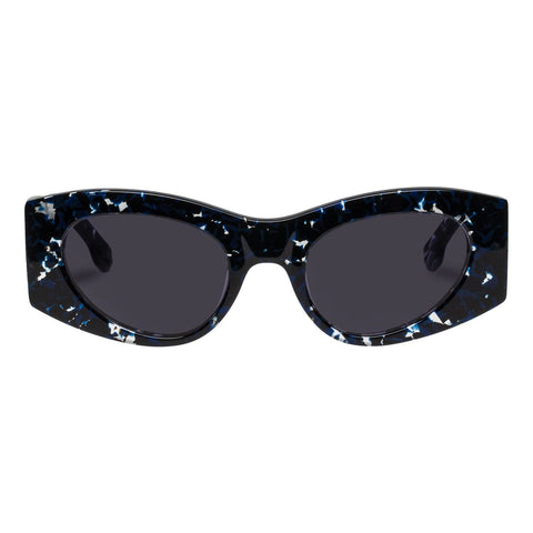 Le Specs - Extempore 49mm Black Navy Agate Sunglasses / Smoke Mono Lenses