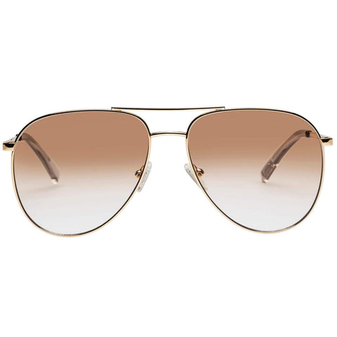 Le Specs - Road Trip 59mm Bright Gold Sunglasses / Tan Gradient Flash Mirror Lenses