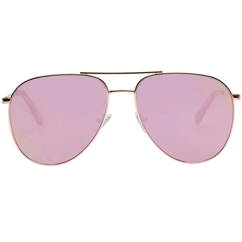 Le Specs - Road Trip 59mm Rose Gold Sunglasses / Peach Revo Mirror Lenses