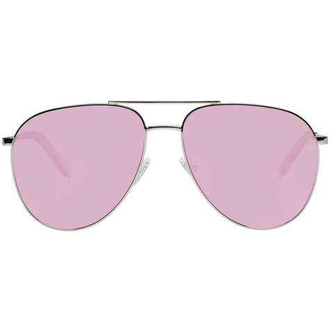 Le Specs - Road Trip 59mm Silver Sunglasses / Pink Gradient Revo Mirror Lenses