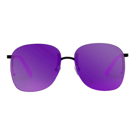 Le Specs - Skyline R 59mm Matte Black Sunglasses / Violet Mirror Lenses