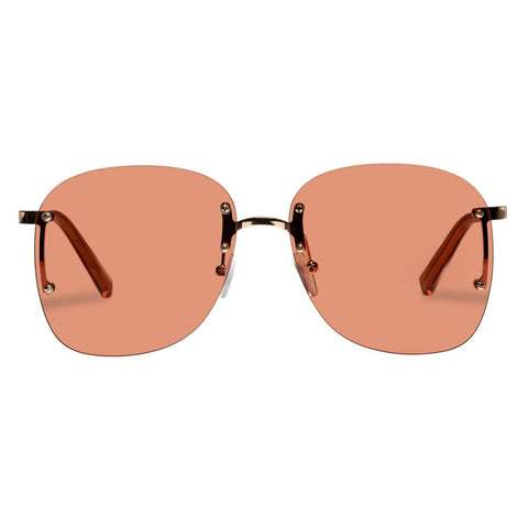 Le Specs - Skyline W 59mm Bright Gold Sunglasses / Pink Lenses