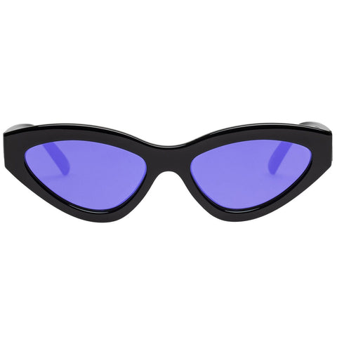 Le Specs - Synthcat 53mm Black Sunglasses / Violet Mirror Lenses