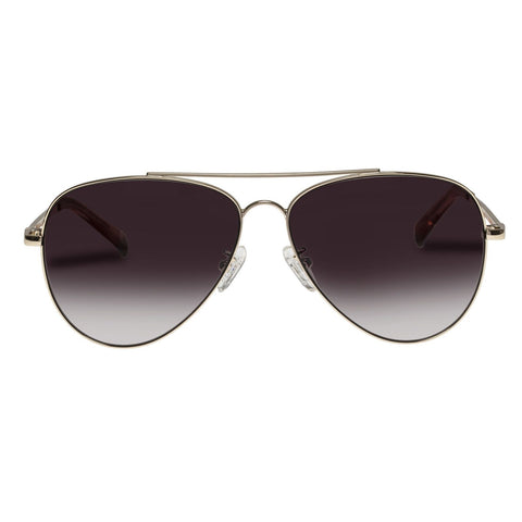 Le Specs - Fly High Gold Sunglasses / Khaki Gradient Lenses