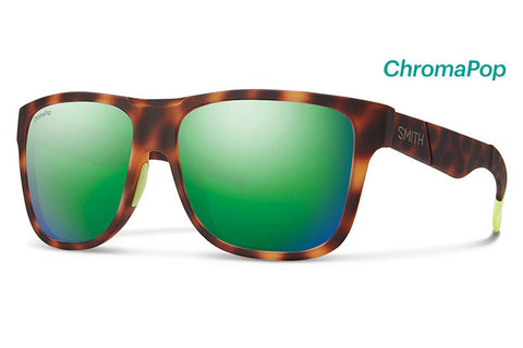 Smith - Lowdown XL Matte Tortoise Neon Sunglasses, ChromaPop Sun Green Mirror Lenses