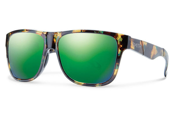Smith - Lowdown XL Flecked Green Tortoise Sunglasses, Green Sol-X Lenses