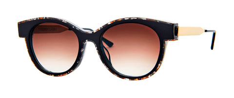 Thierry Lasry - Lytchy Vintage Black Grey Sunglasses / Brown Pattern with Brown Gradient Lenses