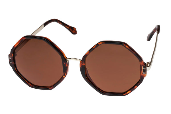 Le Specs Olympias Tortoise & Gold Sunglasses, Brown Mono Lenses