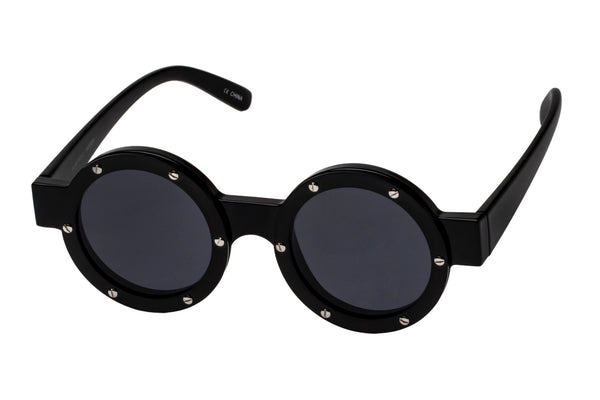 Le Specs Porthole Black & Satin Black Metal Sunglasses