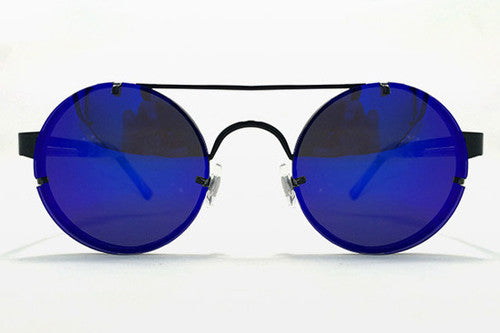 Spitfire - Lennon 2 Black Metal Sunglasses, Blue Mirror Lenses