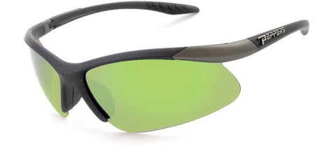 Peppers - Ricochet Satin Black Sunglasses / Green Mirror Polarized Lenses