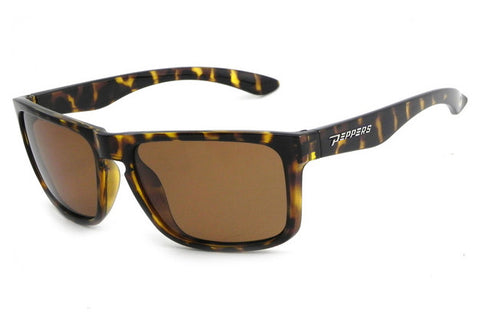 Peppers - Sunset Blvd Shiny Dark Tort Sunglasses, Brown Mirror Lenses