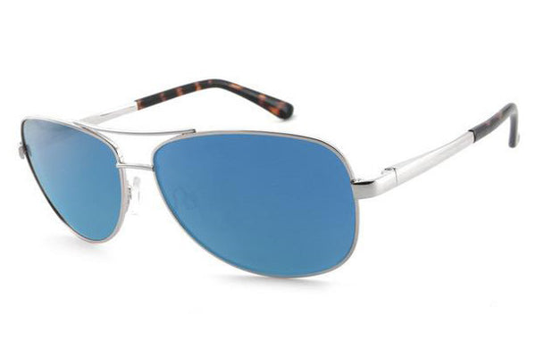 Peppers - Fly Boy Silver Sunglasses, Blue Mirror Lenses