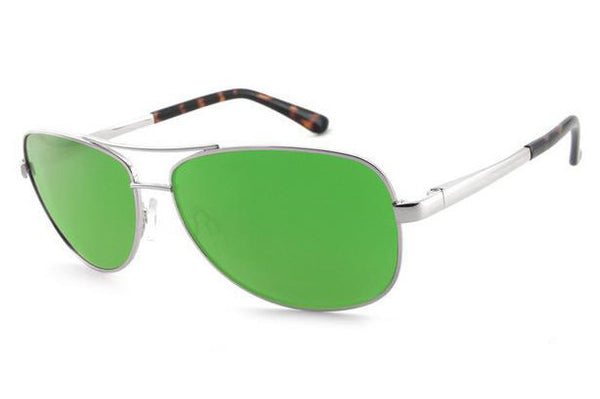Peppers - Fly Boy Silver Sunglasses, Green Mirror Lenses