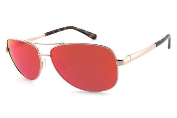 Peppers - Fly Boy Gold Sunglasses, Red Mirror Lenses