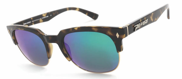 Peppers - Soho Shiny Dark Tortoise Sunglasses / Emerald Green Mirror Polarized Lenses