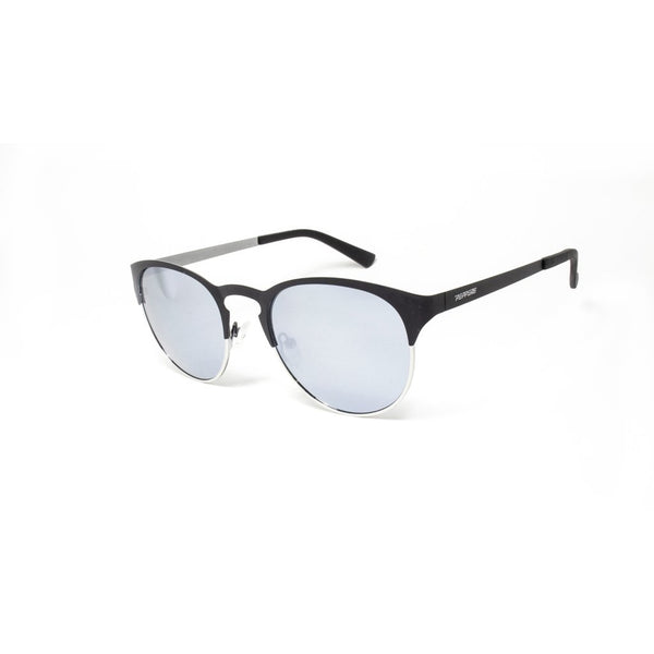 Peppers - Exeter Black Silver Sunglasses / Smoke Polarized Silver Flash Mirror Lenses