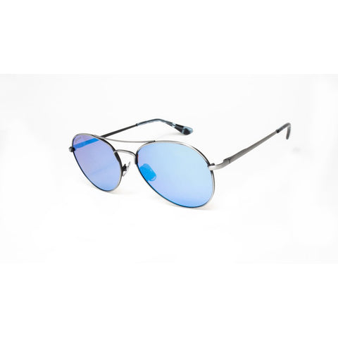 Peppers - Jet Stream Antique Silver Sunglasses / Brown Polarized Blue Mirror Lenses