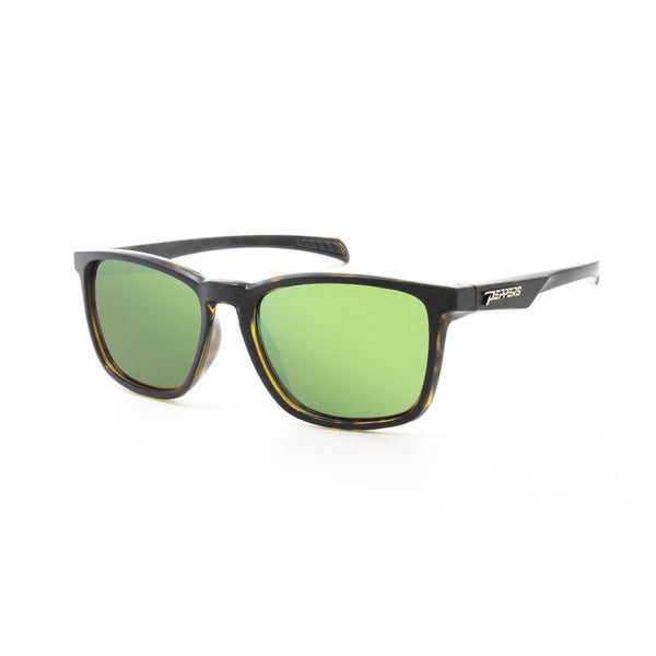 Peppers - Hat Trick Matte Black Sunglasses / Brown Polarized Emerald Green Mirror Lenses