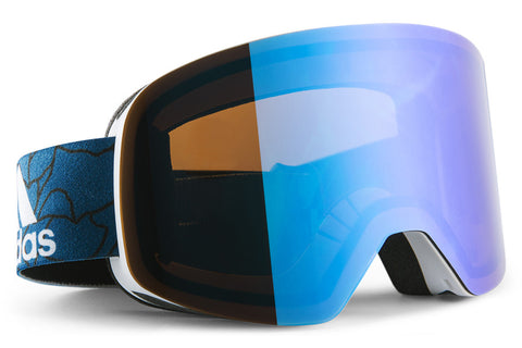 Adidas - Backland White Matt / Blue Goggles, Blue Mirror (AntiFog) Lenses