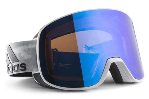 Adidas - Progressor C White Shiny / Blue Goggles, Blue Mirror (AntiFog) Lenses