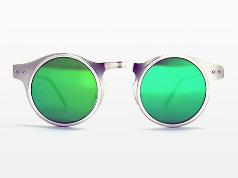 Spitfire - Machina Silver Sunglasses, Green Mirror Lenses