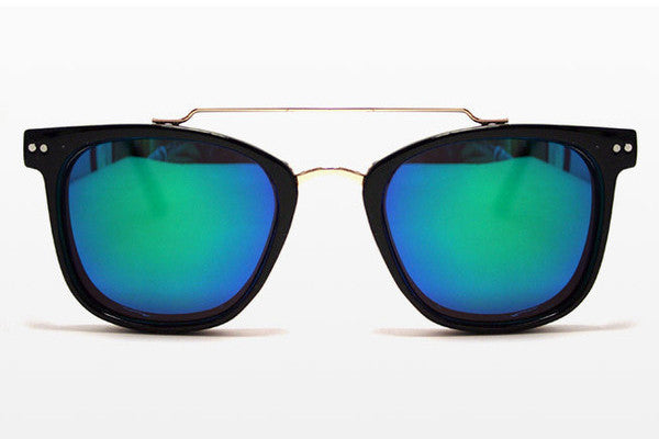 Spitfire - Mainstream 2 Black/Gold Sunglasses, Green Mirror Lenses