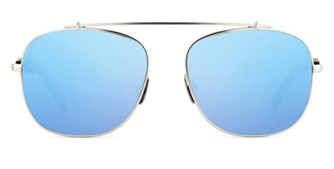 Westward Leaning - Malcolm No Middle 10 Polished Silver Metal Sunglasses / Neon Blue Mirror Lenses