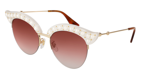 Gucci - GG0212S-003 White Gold Sunglasses / Red Gradient Lenses