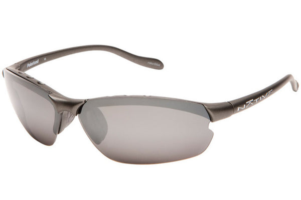 Native Dash XP Charcoal Sunglasses, Polarized Silver Reflex Lenses