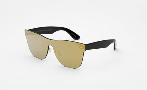Super Classic 58mm Black Sunglasses / Screen Gold Lenses