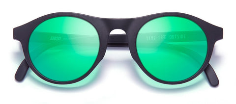 Sunski - Altas Black Sunglasses / Emerald Polarized Lenses