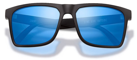 Sunski Taravals Black Sunglasses / Aqua Polarized Lenses