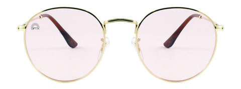 RainbowOPTX - Round Gold Metal Sunglasses / Rose Lenses