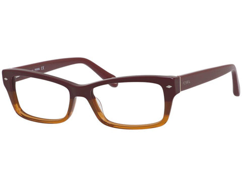 Fossil - 6066 52mm Red Brown  Eyeglasses / Demo  Lenses