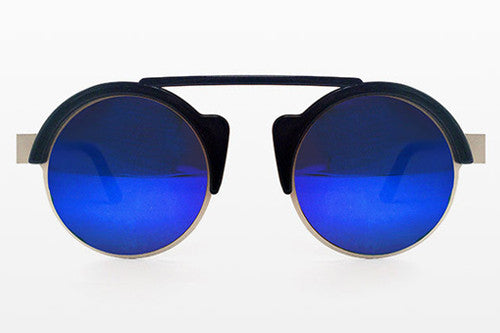 Spitfire - Off World Black & Silver Sunglasses, Blue Mirror Lenses