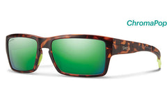Smith - Outlier Matte Tortoise Neon Sunglasses, ChromaPop Sun Green Mirror Lenses