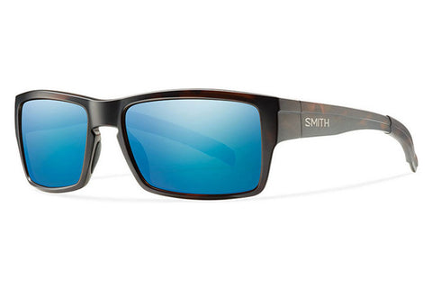 Smith Outlier Matte Tortoise Sunglasses, Blue Sol-X Polarized Mirror Lenses