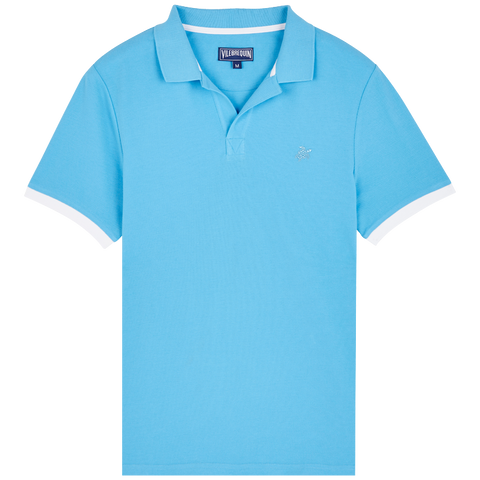 Vilebrequin  - Men's Pique Cotton Solid Palatin Jaipuy Blue Polo Shirt