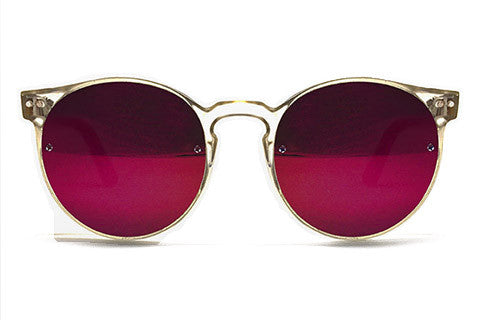 Spitfire - Postpunk Clear Sunglasses, Red Mirror Lenses
