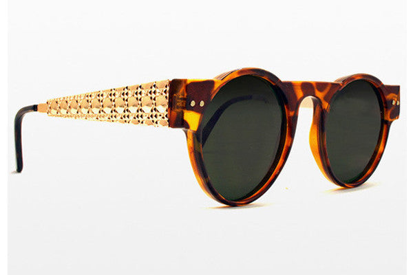 Spitfire - PR55 Tortoise Shell W/ Gold Metal Detail Sunglasses, Black Lenses