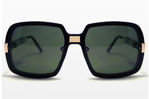 Spitfire Puritan Black/Gold Sunglasses, Black Lenses