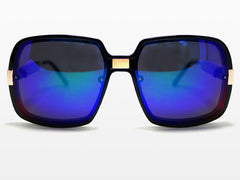 Spitfire - Puritan Black/Gold Sunglasses, Blue Mirror Lenses