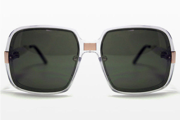 Spitfire - Puritan Clear/Gold Sunglasses, Black Lenses