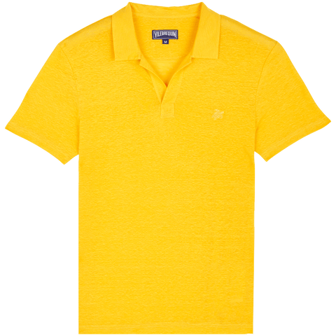 Vilebrequin  - Men's Linen Jersey Solid Pyramid Curry Yellow Polo Shirt