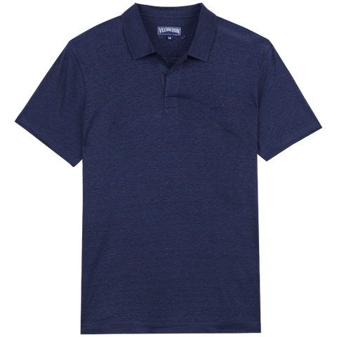 Vilebrequin  - Men's Linen Jersey Solid Pyramid Navy Blue Polo Shirt