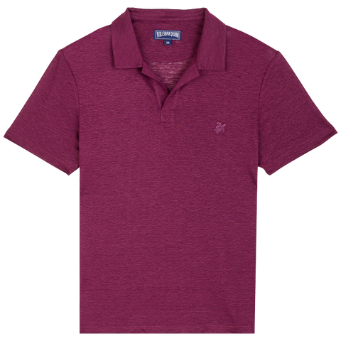 Vilebrequin  - Men's Linen Jersey Solid Pyramid Kerala Purple Polo Shirt