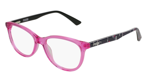 Puma - PJ0021O Junior Pink + Multi Color Eyeglasses / Demo Lenses