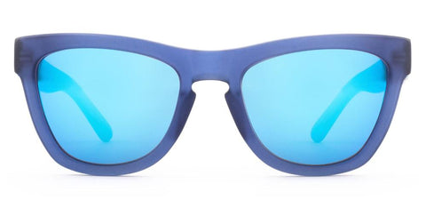 Westward Leaning - Pioneer 45 Matte Navy Acetate Sunglasses / Neon Blue Mirror Lenses