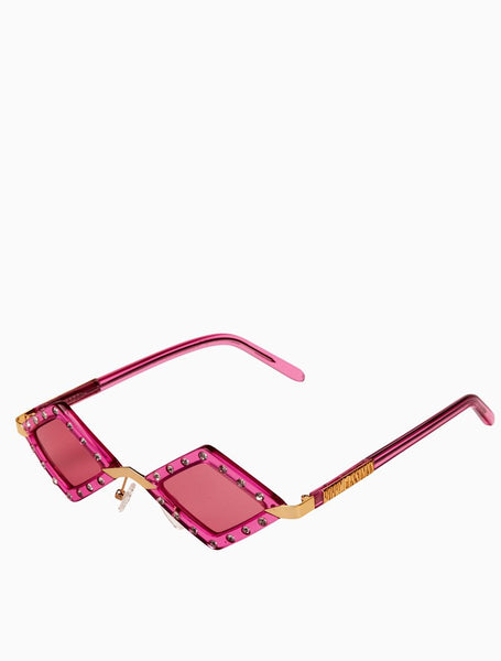 Poppy Lissiman - Elton Clear Pink Sunglasses / Pink Lenses